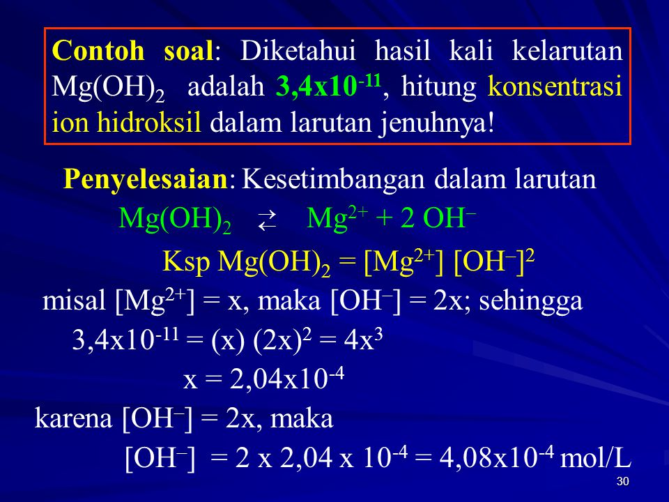 Ksp Mg(OH)2 = [Mg2+] [OH–]2